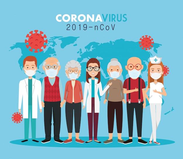 Ärzte und alte menschen, die gesichtsmasken gegen die covid19-pandemie verwenden