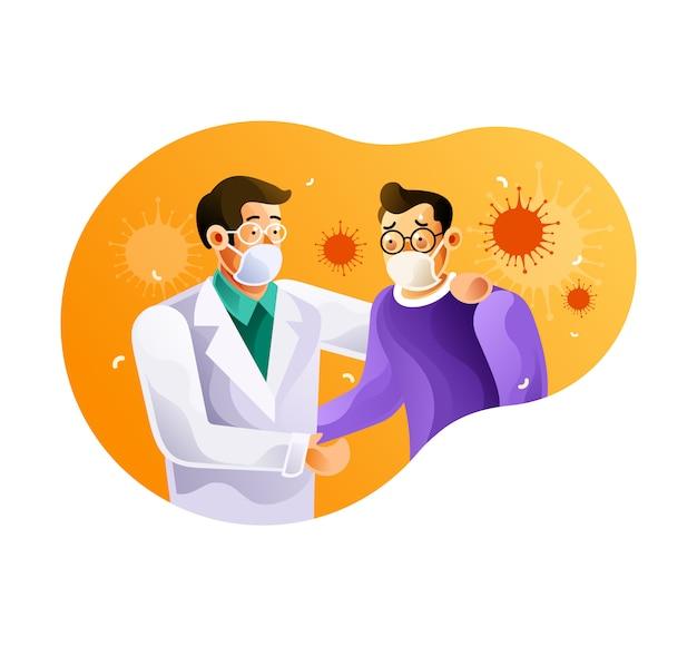 Ärzte und coronavirus-patienten verwenden masken
