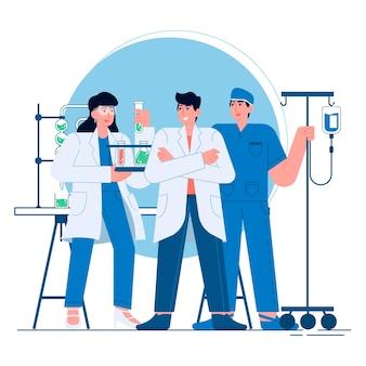 Ärzte und krankenschwestern flache illustration