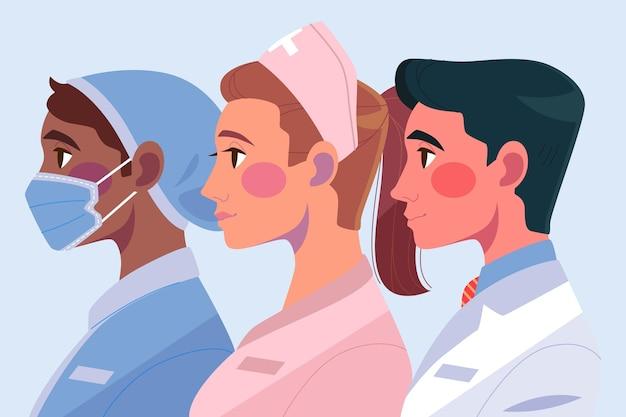 Ärzte und krankenschwestern illustration