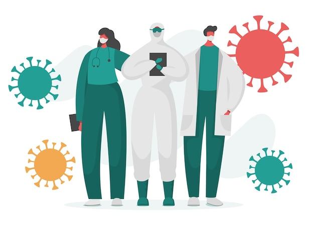 Ärzte und krankenschwestern in geschützter uniform mit herumfliegendem coronavirus