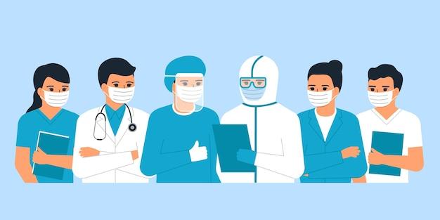 Ärzte und krankenschwestern medizinisches personal, mann und frau mediziner ist held. gesundheitspfleger. kampf gegen covid-19-viren. illustration