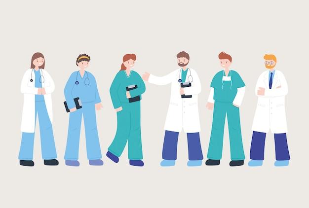 Ärzte und krankenschwestern, team professionelle ärzte krankenschwestern personal, medizinische menschen charaktere
