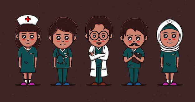 Ärzte und krankenschwestern vektor im cartoon-stil premium-vektor