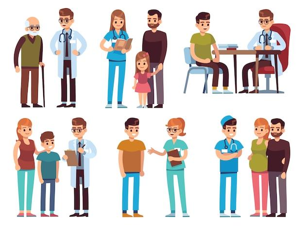 Ärzte und patienten. medizinbüro personal krankenhaus diagnose behandlung patient klinik arzt krankenschwester professionelle hilfe, bild