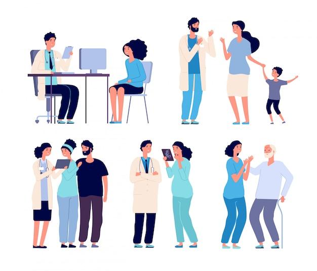 Ärzte und patienten. medizinisches krankenhauspersonal, diagnosebehandlungspatient. klinikkrankenschwester mit kranken personen. vektorzeichen