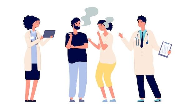 Ärzte und raucher. drogenabhängigkeit. vektor männliche weibliche charaktere. ärzte bieten hilfe an, um die sucht loszuwerden. illustration rauchen menschen und arzt, sucht zigarette