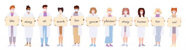 Ärzte weißes mantel medizinische maske gesetzt. internationale wissenschaftler halten banner bleiben zu hause coronavirus