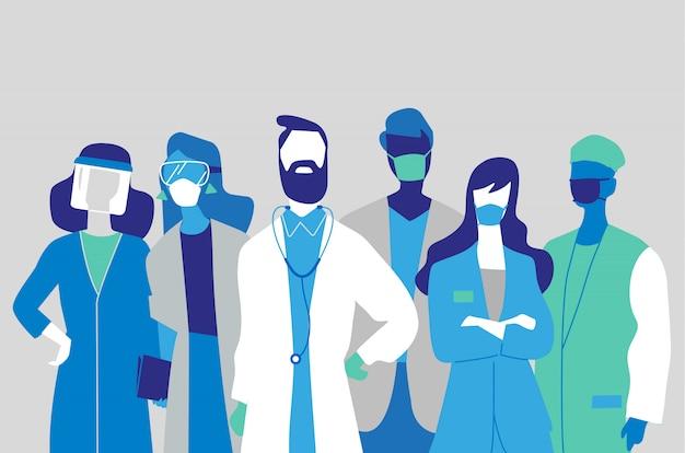 Ärzteteam, ärzte und krankenschwestern mit masken