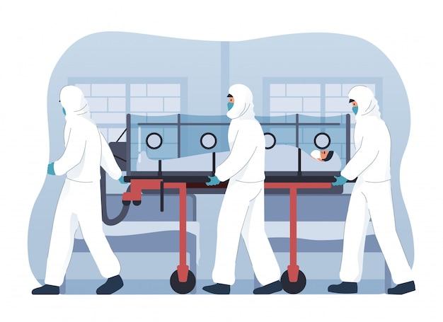 Ärzteteam in schutzausrüstung bringt mit coronavirus infizierten patienten ins krankenhaus