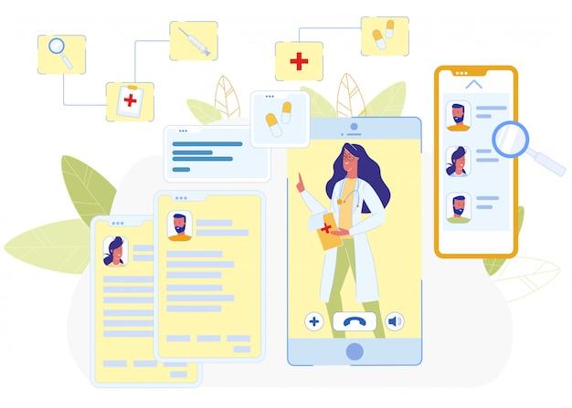 Ärztin auf smartphone app bildschirm videoanruf