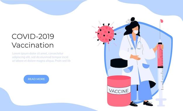Ärztin hält riesige spritze mit coronavirus-impfstoff covid-19. impfkampagne. zeit zu impfen.