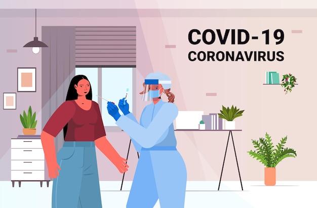 Ärztin in maske, die tupfertest für coronavirus-probe von geschäftsfrau-patient-pcr-diagnoseverfahren covid-19-pandemiekonzeptporträt horizontale vektorillustration nimmt