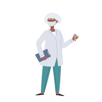 Ärztin in schützender gesichtsmaske mit blutschlauch