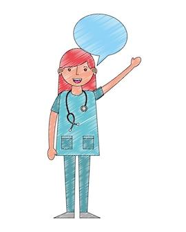 Ärztin in uniform mit stethoskop sprechblase