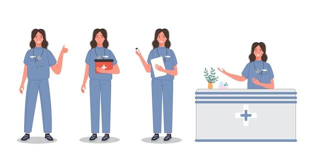 Ärztin in unterschiedlicher pose gruppe von medizinischen fachkräften in sanitäruniform