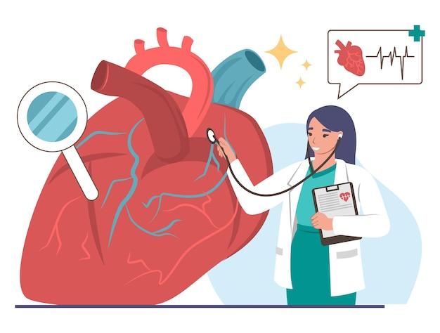 Ärztin kardiologe untersucht menschliches herz mit stethoskop, flache vektorillustration. kardiologie, herzkrankheiten, medizin und gesundheitswesen.