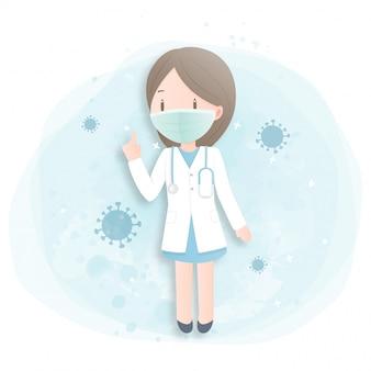 Ärztin mit maske.