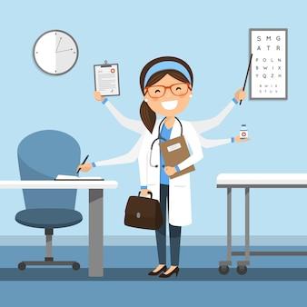 Ärztin multitasking im krankenhaus