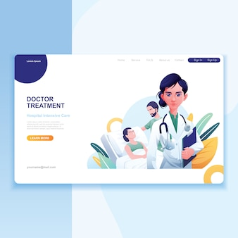 Ärztin patient and nurse as background