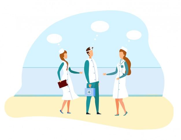 Ärztin trifft chefarzt mit assistentin