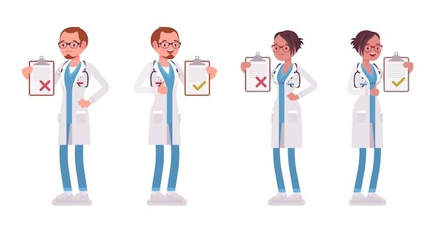 Ärztin und ärztin mit zwischenablage. mann und frau in der krankenhausuniform stehend mit patientenliste. medizin, gesundheitskonzept. stilkarikaturillustration auf weißem hintergrund