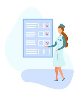 Ärztin und großes papierblatt mit ausgefülltem formular Premium Vektoren