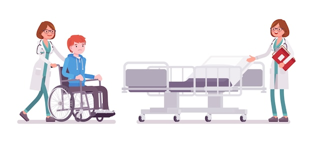 Ärztin und hospitalisierter patient