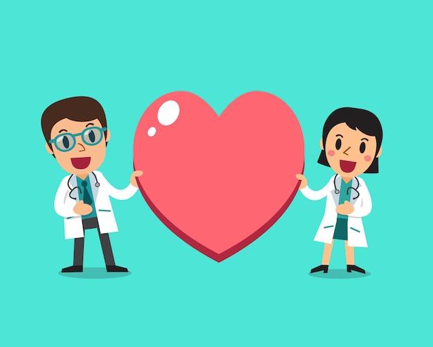 Ärztin und männlicher doktor mit großem herzzeichen