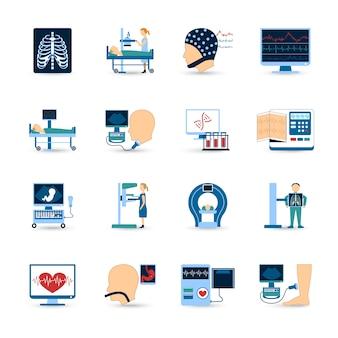Ärztliche untersuchung icons set