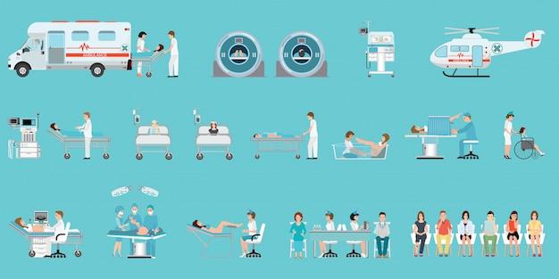 Ärztlicher dienst mit medizinischem personal und patienten in verschiedenen situationen im krankenhaus.