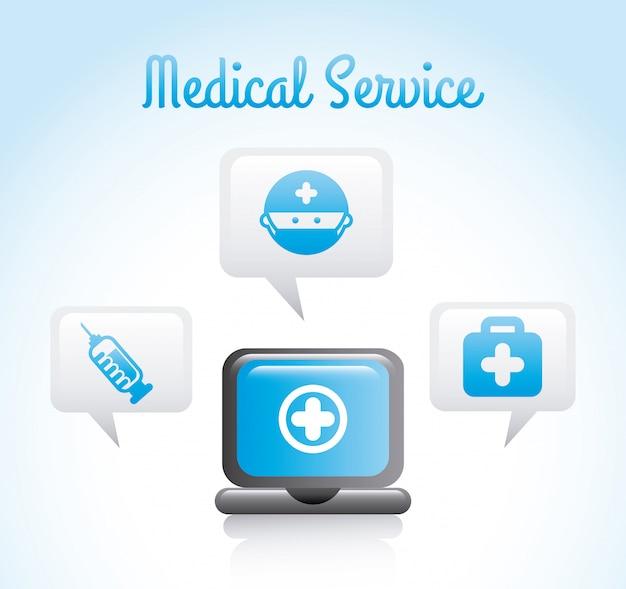 Ärztlicher dienst über blauer hintergrundvektorillustration