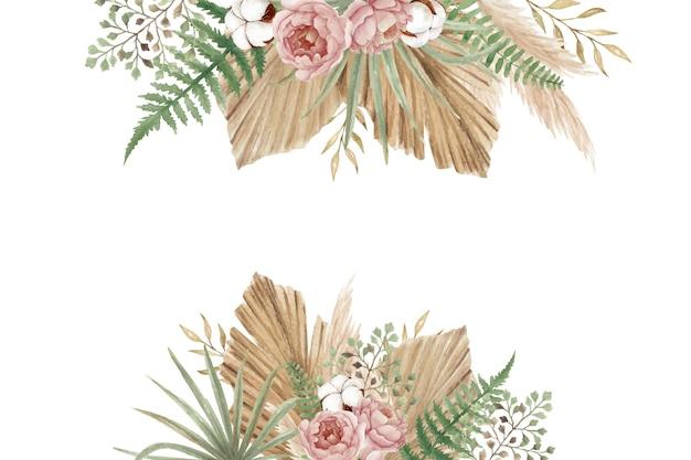 Ästhetische blumen mit pfingstrosen, baumwollblüten, farn und trockenen blättern