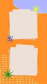 Ästhetische papiernotizen hintergrund wallpaper vektor