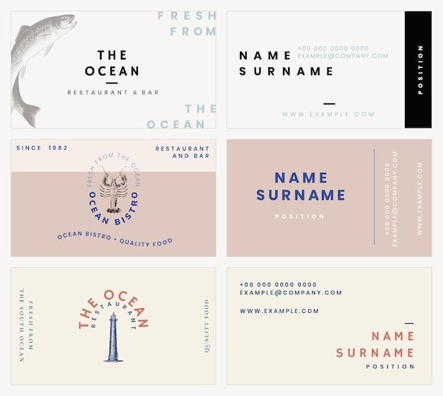 Ästhetische visitenkartenvorlage für restaurantset, remixed aus gemeinfreien kunstwerken