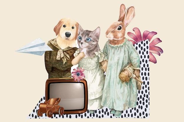 Ästhetischer vektor der retro-collage, nette tierillustrations-mixed-media-kunst