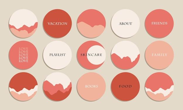 Ästhetisches rosa minimalistisches instagram-highlight deckt die vektorsammlung ab