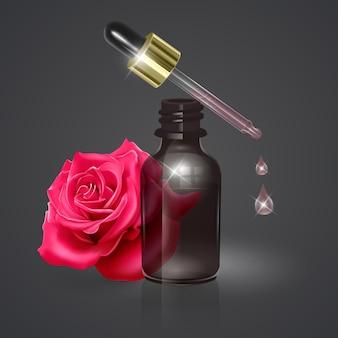 Ätherisches rosenöl, realistische 3d-illustration. hydratationsserum mit rosenextrakt.