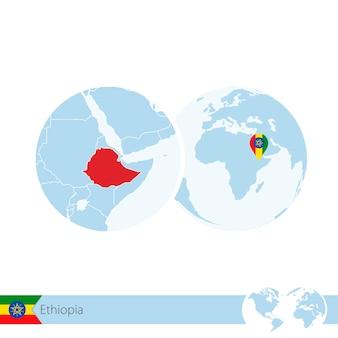 Äthiopien auf der weltkugel mit flagge und regionaler karte von äthiopien. vektor-illustration.