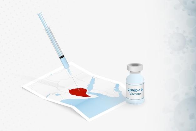 Äthiopien-impfung, injektion mit covid-19-impfstoff in der karte von äthiopien.