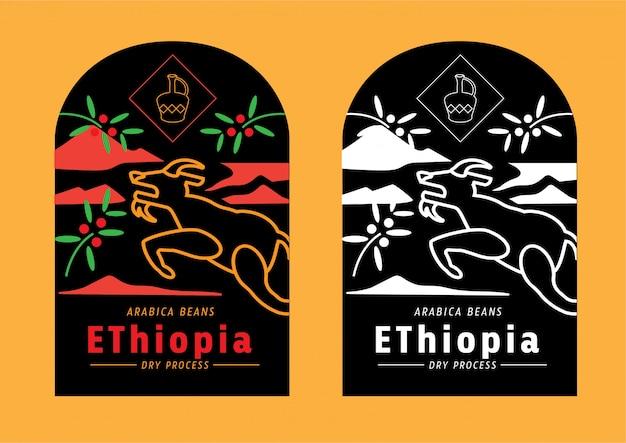 Äthiopien-kaffeebohneaufkleber mit dem ziegenspringen
