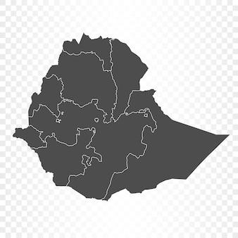 Äthiopien-karte isoliert auf transparent Premium Vektoren