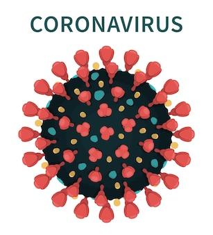 Äußere struktur mit roten spitzen. nahaufnahme des coronavirus unter dem mikroskop.