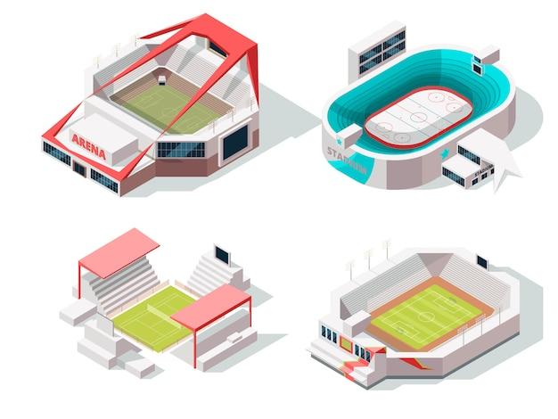 Äußeres des stadiongebäudehockeys, des fußballs und des tennis. isometrische bilder