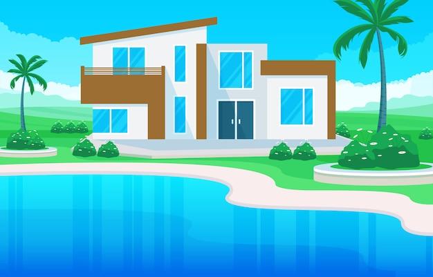 Äußeres haus der modernen hausvilla mit swimmingpool an der hinterhofillustration