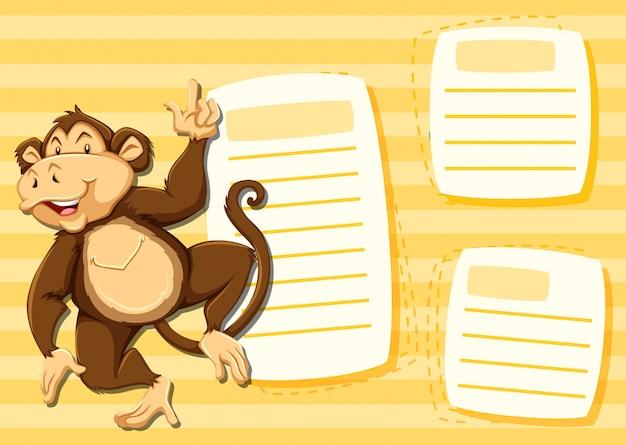 Affe auf notizvorlage