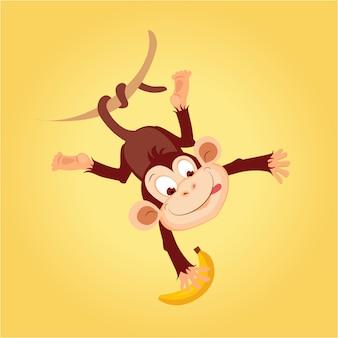 Affe, der an liana hängt