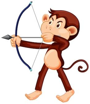 Affe, der eine bogenschießen-cartoon-figur hält