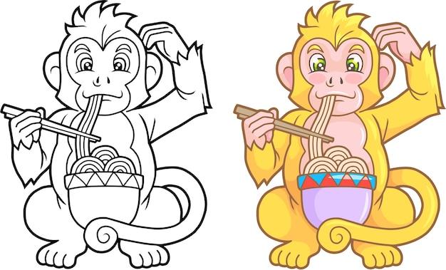 Affe, der nudeln isst