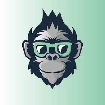 Affe, die brille athletisches esportteam trägt